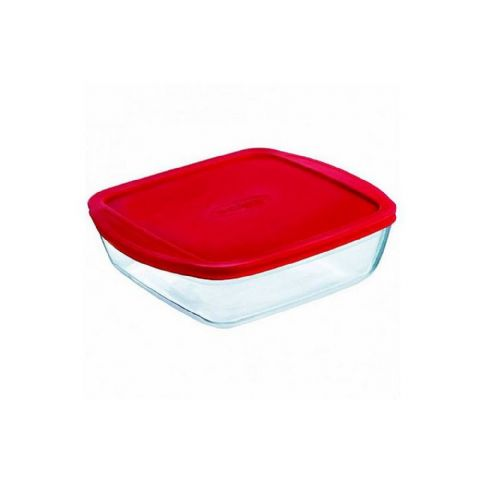 Pyrex OCuisine Square 0.35L 14cm Glass Fridge Freezer Food Box Container Oven Dish with Lid